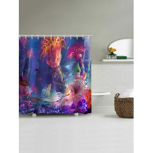 Cartoon Underwater World Waterproof Bath Curtain -