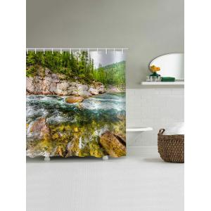 Natural Scene Printed Waterproof Bath Curtain -
