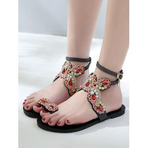 Плоские каблуки Rhinestone Butterfly Pattern Thong Sandals -