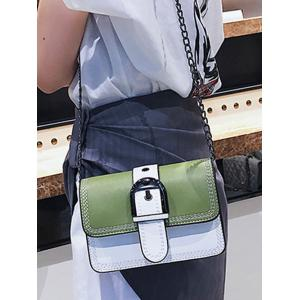 Color Block Stitches Buckled Flap Crossbody Bag -