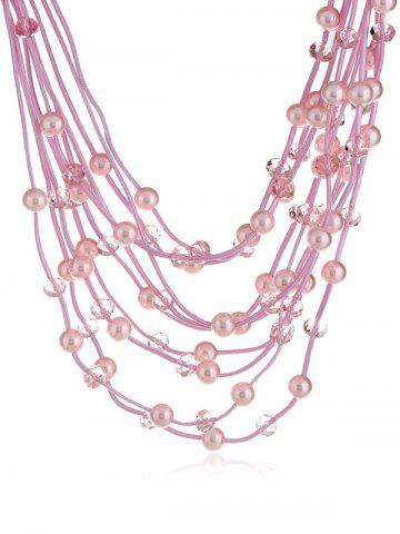 Online Artificial Pearls Rhinestone Decoration Multilayer Necklace