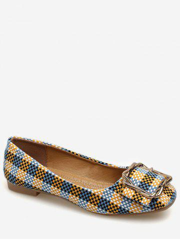 Fancy Square Toe Metal Buckled Plaid Leisure Flats