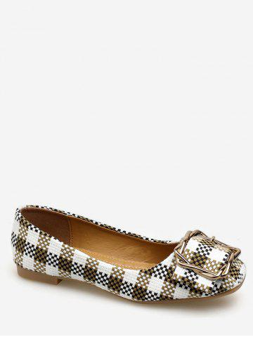 Affordable Square Toe Metal Buckled Plaid Leisure Flats
