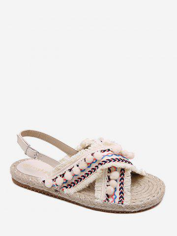 Trendy Frayed Edge Cross Strap Pompoms Leisure Sandals