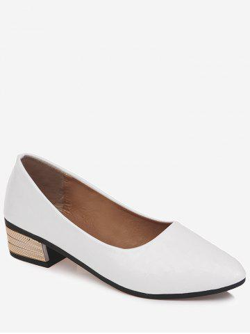 fbbed12371c Chic Pointed Toe Block Heel Daily Walking Pumps - WHITE