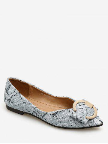 Chic Daily Patchwork Print Metal Buckled Flats