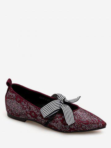 Hot Vintage Striped Bowknot Pointed Toe Daily Flats