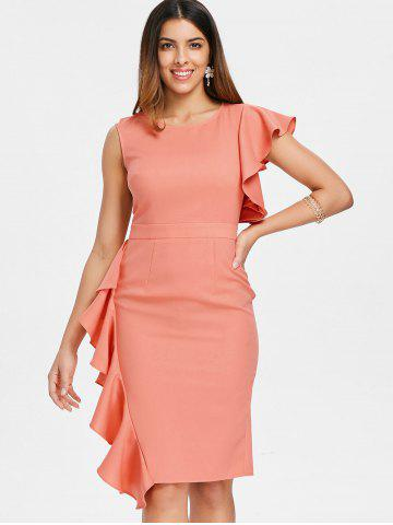 Lace Panel Asymmetric Sleeve Ruffle Midi Dress