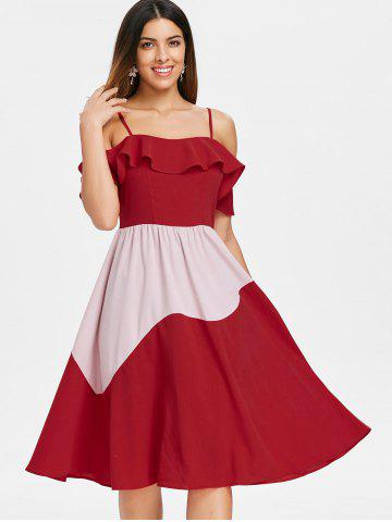 Color Block Ruffle Chiffon Midi Dress