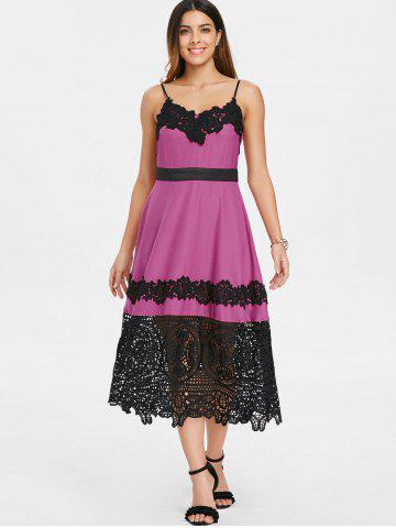Lace Insert Vintage Swing Midi Dress