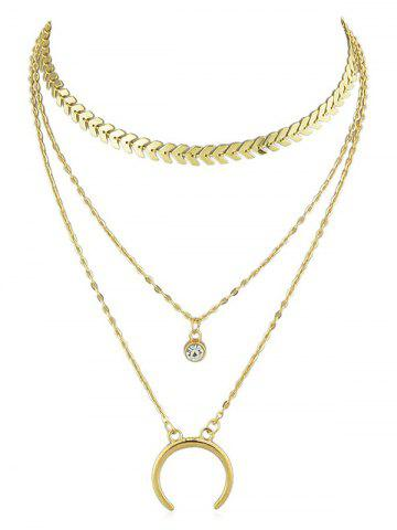 Fancy Rhinestone Crescent Moon Layer Fishbone Chain Necklace