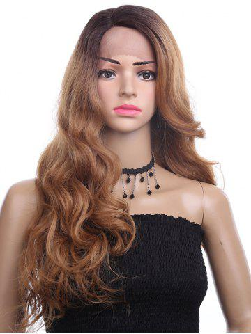 Trendy Long Side Parting Colormix Wavy Synthetic Lace Front Wig