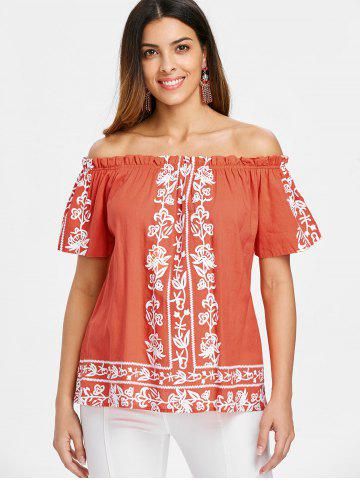 Off The Shoulder Ruffle Hemline Printed Blouse