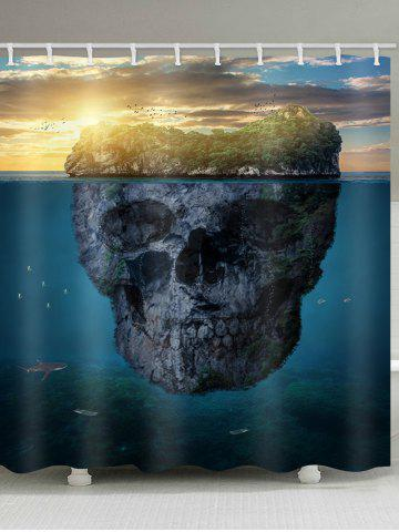 Sale Skull Island Print Waterproof Bathroom Curtain