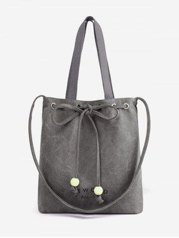 Discount Canvas Bowknot Letter Print Beaded Shoulder Bag