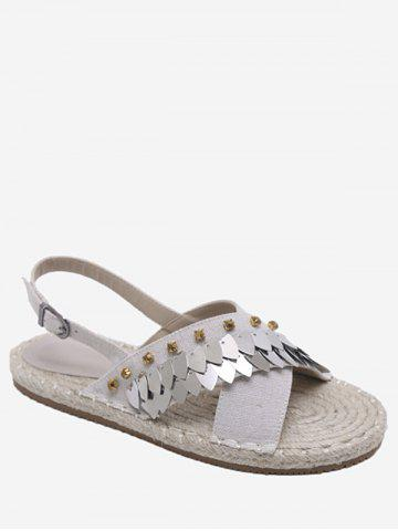 Espadrille Studded Sequined Crisscross Slingback Sandals