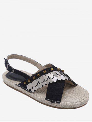 Affordable Espadrille Studded Sequined Crisscross Slingback Sandals