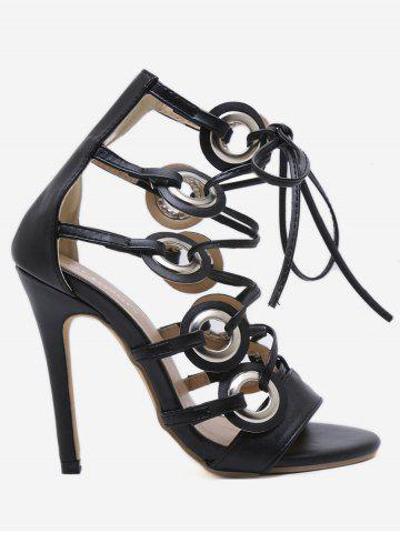Discount Lace Up Cut Out High Heel Pumps