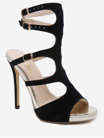 Buy Peep Toe Stiletto Heel Hollow Out Party Sandals
