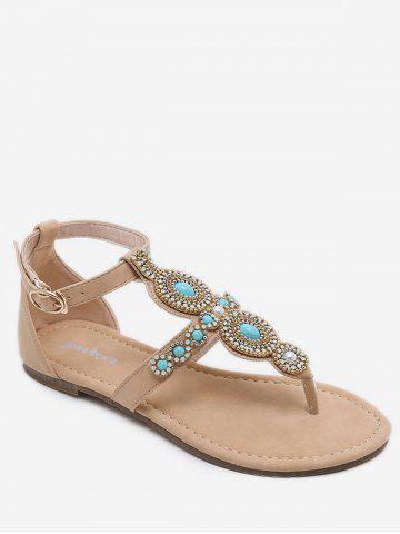 Trendy Leisure Holiday Rhinestone Ankle Strap Thong Sandals