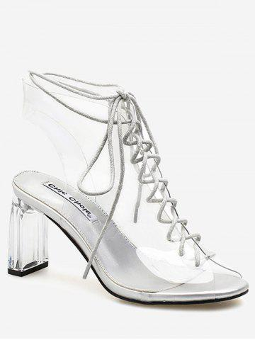 Fancy Peep Toe High Heel Transparent Cut Out Sandals