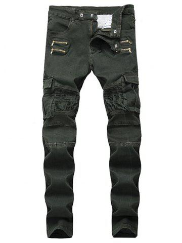 Store Patchwork Zippers Decorated Pleated Biker Jeans