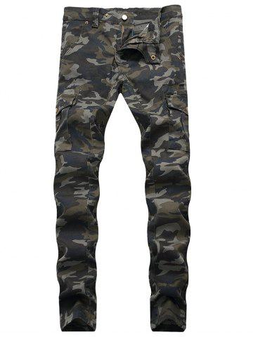 Discount Patchwork Multi-pocket Tapered Jeans