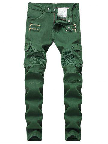 Online Patchwork Zippers Decorated Pleated Biker Jeans