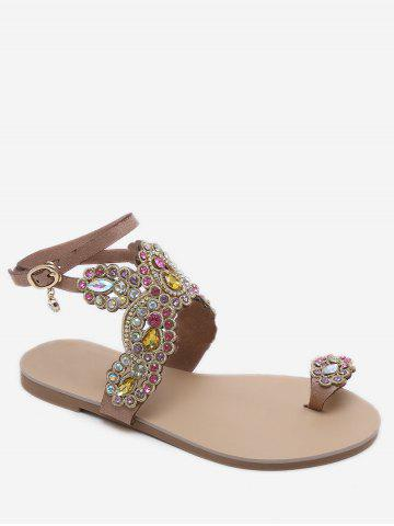 Affordable Flat Heel Rhinestone Butterfly Pattern Thong Sandals