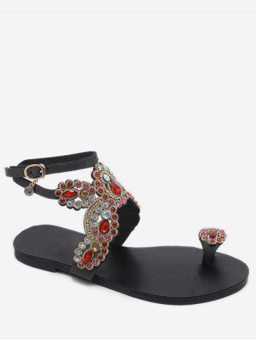 Плоские каблуки Rhinestone Butterfly Pattern Thong Sandals