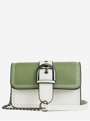 Discount Color Block Stitches Buckled Flap Crossbody Bag