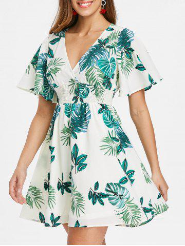 New Shirred Waist Tropical Print Dress