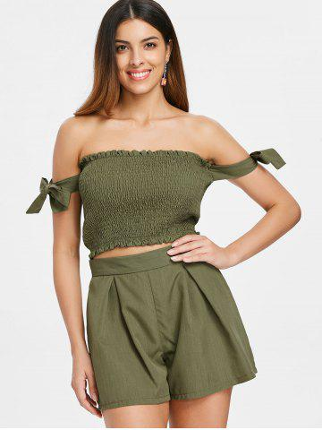 Tie Shirred Top and Elastic Waist Shorts
