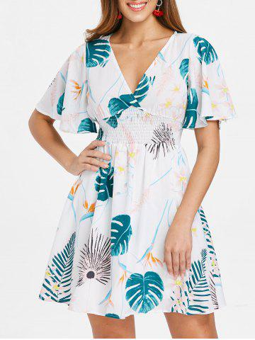 Outfits Shirred Waist Tropical Print Dress