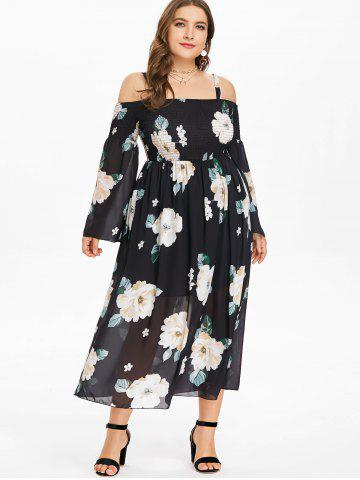 Plus Size Floral Strappy Shirred Dress