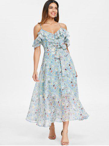 Floral Ruffle Tie Waist Cold Shoulder Midi Dress