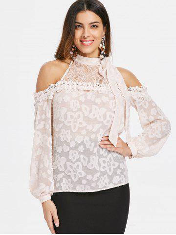 Cold Shoulder Lace Insert Long Sleeve Blouse
