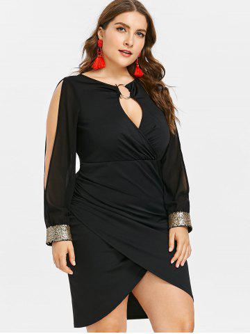 c4bf239817a96 Keyhole Neck Plus Size Slit Bodycon Dress