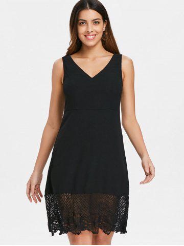 Lace Panel Deep V Neck Cutout Back Dress