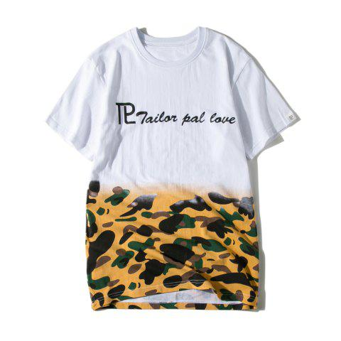 Letter Camouflage Print Round Neck T-shirt