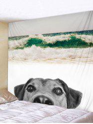 Wall Hanging Art Beach Dog Print Tapestry -