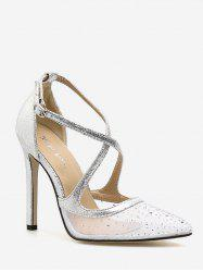 Stiletto Heel Prom Crystals Crisscross Dreamy Pumps -