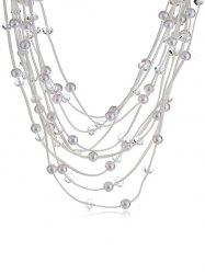 Collier Multicouches Strass Design en Perle Artificielle -