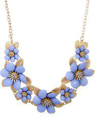Rhinestone Flowers Design Pendant Chain Necklace -