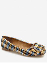 Square Toe Metal Buckled Plaid Leisure Flats -