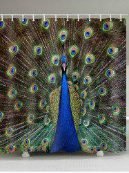 Peacock Print Waterproof Bathroom Shower Curtain -