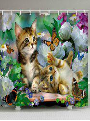 Little Cat Playing Butterflies Print Shower Curtain -