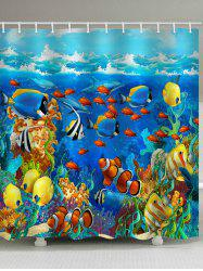 Cartoon Undersea World Print Bathroom Shower Curtain -