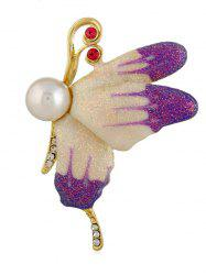 Broche Epingle Papillon Volant en Fausse Perle -