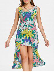 Leaf Print Asymmetric Neck Slit Swing Dress -